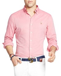 Polo Ralph Lauren Chambray Oxford Slim Fit Button Down Shirt Spanish Red White