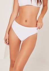 Missguided Mix And Match Super High Leg High Waisted Bikini Bottoms White White