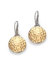 John Hardy Palu 18K Yellow Gold And Sterling Silver Hammered Disc Drop Earrings