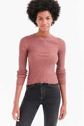 Silence And Noise Speckle Patterned Rib Pullover Sweater Blush