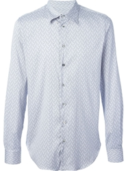 Giorgio Armani Chevron Pattern Shirt Blue