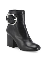 Alexander Wang Kenze Leather Buckle Block Heel Booties Black