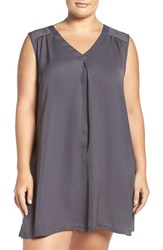 Midnight By Carole Hochman Plus Size Women's Sleep Shirt Silver Mist