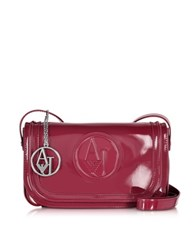 Armani Jeans Bordeaux Faux Patent Leather Crossbody