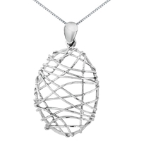 Ibb 9Ct White Gold Candy Cage Pendant White
