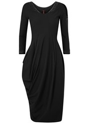 High Appreciate Draped Jersey Dress Black