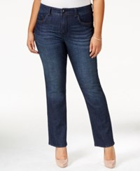 Melissa Mccarthy Seven7 Plus Size Slim Fit Bootcut Jeans With Embellished Back Pockets Navy