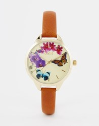 Oasis Butterfly Print Dial Tan Leather Watch