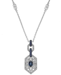 Macy's Sterling Silver Sapphire 1 Ct. T.W. And Diamond 1 10 Ct. T.W. Antique Pendant Necklace