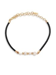 Ettika 5 8Mm White Freshwater Pearl And Leather Choker Black