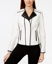 Inc International Concepts Contrast Moto Jacket With Faux Leather Trim Only At Macy's