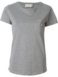 Maison Kitsune Front Pocket With Embroidered Logo T Shirt Grey
