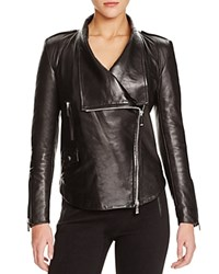Barbara Bui Shawl Lapel Leather Jacket Black