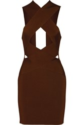 Balmain Cutout Stretch Knit Mini Dress Chocolate
