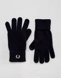 Fred Perry Pique Gloves In Lambswool Navy