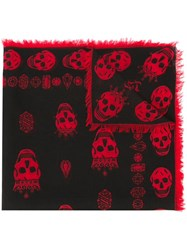 Alexander Mcqueen King And Queen Skull Scarf Black