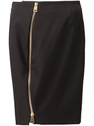 Bouchra Jarrar Front Zip Pencil Skirt Black