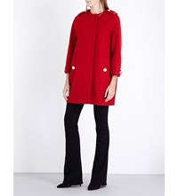 Burberry Anstead Cocoon Wool Blend Coat Parade Red