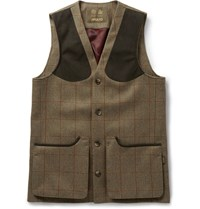 Musto Shooting Checked Tweed Stretch Wool Gilet Green