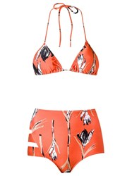 Giuliana Romanno Printed Triangle Bikini Set Yellow Orange