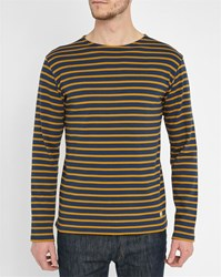 Armor Lux Navy Mustard Classic Sailor Stripe Top