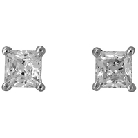 Jools By Jenny Brown Four Prong Square Cut Cubic Zirconia Stud Earrings