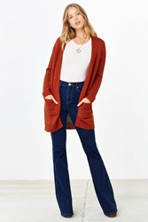 Silence And Noise Silence Noise Ribbed Sleeve Open Front Cardigan Rust