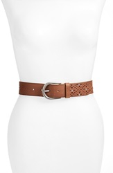 Lucky Brand Stud And Perforated Leather Belt Saddle
