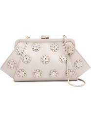 Zac Zac Posen Floral Applique 'Posen' Clutch Nude And Neutrals