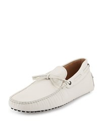 Gommini Tie Leather Driver White Tod's