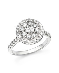 Bloomingdale's Diamond Baguette And Round Ring In 18K White Gold 1.10 Ct. T.W.