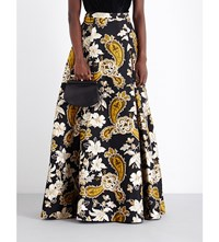 Alice Olivia Rachele Floral Jacquard Ball Gown Skirt Black Gold