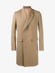 Gucci Wool Blend Single Breasted Coat Camel Black White
