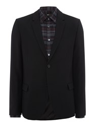 Hugo Ander Textured Blazer With Leather Trim Black