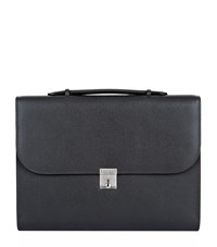 Valextra Leather Portfolio Briefcase Unisex Grey
