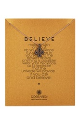 Dogeared Two Tone Believe English Cross Necklace Metallic
