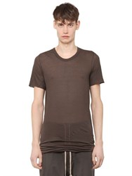 Rick Owens Crewneck Cotton Jersey Long T Shirt