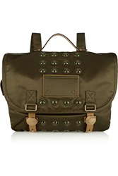 Marc Jacobs Super Trooper Convertible Leather Trimmed Satin Twill Backpack