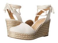 Michael Michael Kors Margie Closed Toe Wedge Natural Small Weave Canvas Women's Shoes White