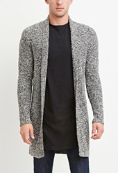 Forever 21 Shawl Collar Marled Cardigan Grey Black