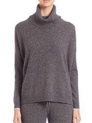 Three Dots Oversized Cashmere Turtleneck Sweater Charcoal