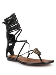 Valentino Tribe Gladiator Mask Leather Lace Up Thong Sandals Black