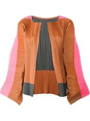 Sofie D'hoore 'Blossom' Colour Block Wide Sleeve Pleated Cropped Jacket Multicolour