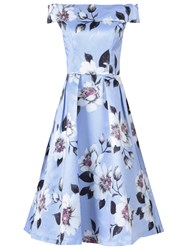 Jolie Moi Floral Bardot Neck Prom Dress Grey