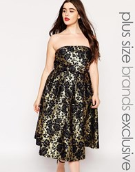Chi Chi Plus Chi Chi London Plus Gold Jacquard Midi Bandeau Prom Dress