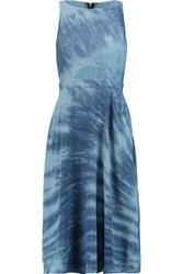 Kain Label Quinn Tie Dye Cutout Crepe Midi Dress Blue