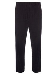 Homme Plisse Straight Leg Pleated Trousers Navy