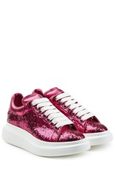 Alexander Mcqueen Glitter Leather Sneakers Pink
