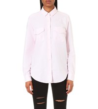The Kooples Striped Cotton Shirt Pink White