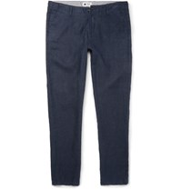 Nn.07 New Simon Slim Fit Linen Trousers Blue